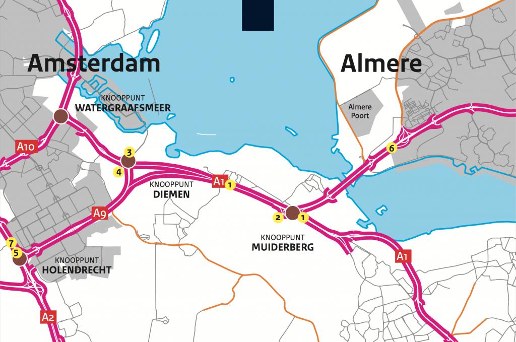kaart met nummers van werkweekenden A1 A6 A9