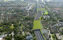 Luchtfoto gecombineerd met een visualisatie van de nieuwe situatie van Amstelveen