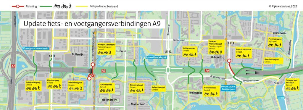 Welke fietspaden in Amsterdam Zuidoost zijn open en dicht? Hieronder ook uitgeschreven