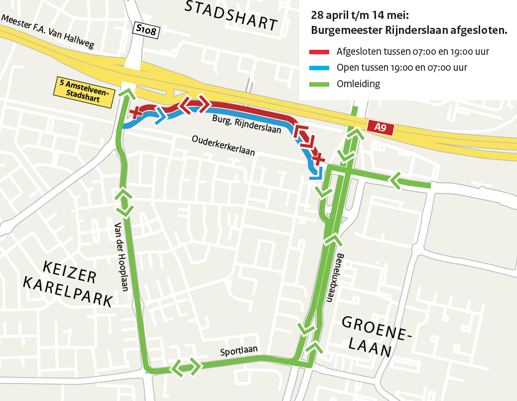 Omleidingskaart afsluiting Burgemeester Rijnderslaan. Hierboven omschreven
