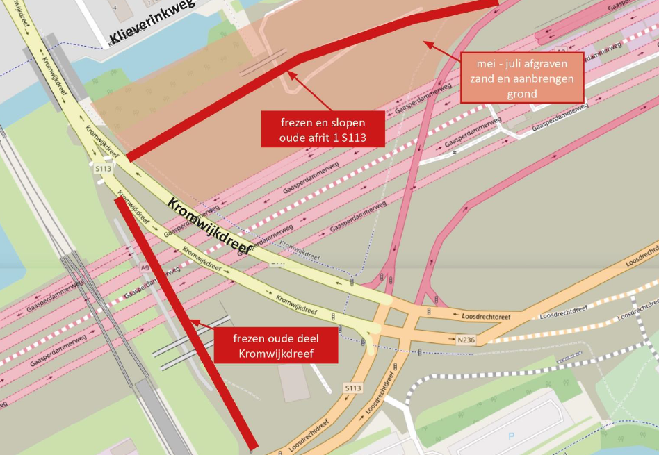 Locatie werkzaamheden oude afrit 1 S113 en Kromwijkdreef
