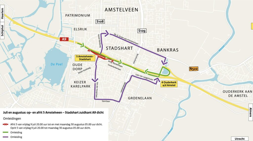 Omleiding tijdens de afsluiting. Het verkeer wordt omgeleid via op- en afrit 4 (Ouderkerk aan de Amstel).