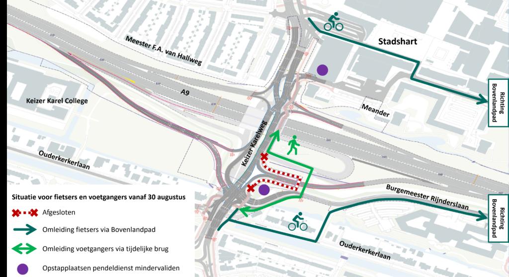 Omleiding voor fietsers en voetgangers, hierboven ook omschreven