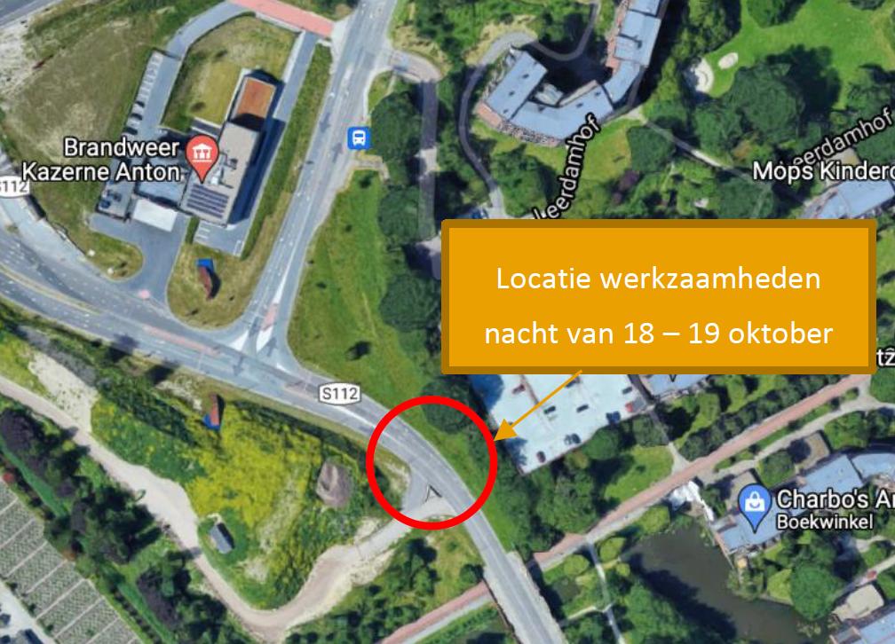 Locatie van de werkzaamheden bij de werkinrit: nabij de schooltuintjes